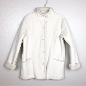 L.L. BEAN faux suede shearling coat